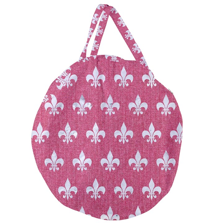 ROYAL1 WHITE MARBLE & PINK DENIM (R) Giant Round Zipper Tote