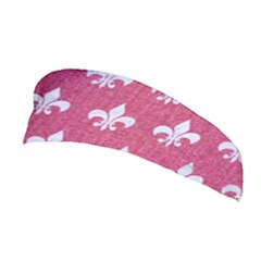 Royal1 White Marble & Pink Denim (r) Stretchable Headband