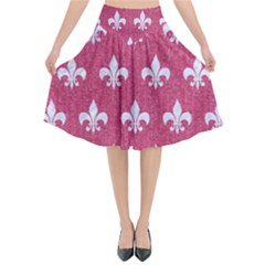 Royal1 White Marble & Pink Denim (r) Flared Midi Skirt by trendistuff