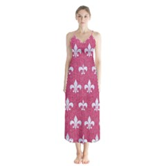 Royal1 White Marble & Pink Denim (r) Button Up Chiffon Maxi Dress