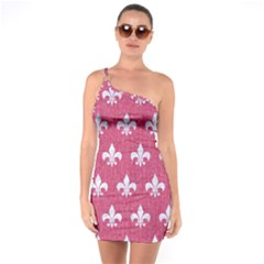 Royal1 White Marble & Pink Denim (r) One Soulder Bodycon Dress by trendistuff
