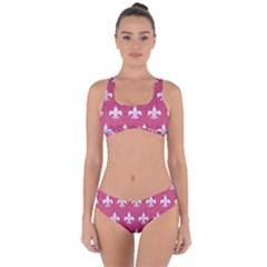 ROYAL1 WHITE MARBLE & PINK DENIM (R) Criss Cross Bikini Set