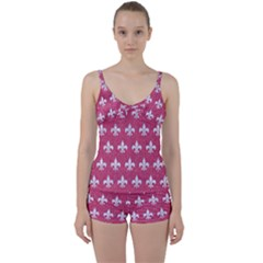 Royal1 White Marble & Pink Denim (r) Tie Front Two Piece Tankini by trendistuff