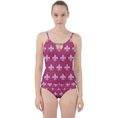 Royal1 White Marble & Pink Denim (r) Cut Out Top Tankini Set