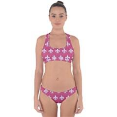 ROYAL1 WHITE MARBLE & PINK DENIM (R) Cross Back Hipster Bikini Set
