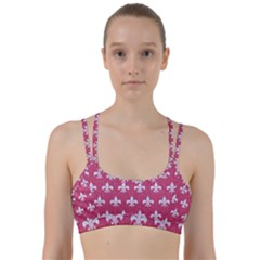Royal1 White Marble & Pink Denim (r) Line Them Up Sports Bra