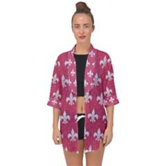 ROYAL1 WHITE MARBLE & PINK DENIM (R) Open Front Chiffon Kimono