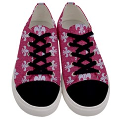 Royal1 White Marble & Pink Denim (r) Men s Low Top Canvas Sneakers