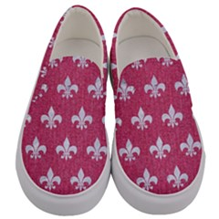 Royal1 White Marble & Pink Denim (r) Men s Canvas Slip Ons