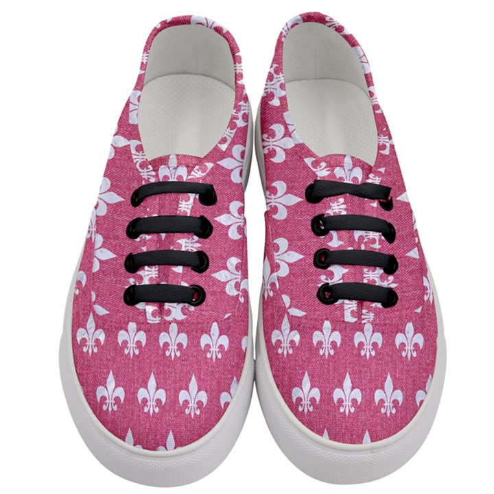 ROYAL1 WHITE MARBLE & PINK DENIM (R) Women s Classic Low Top Sneakers