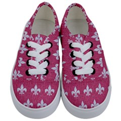 Royal1 White Marble & Pink Denim (r) Kids  Classic Low Top Sneakers