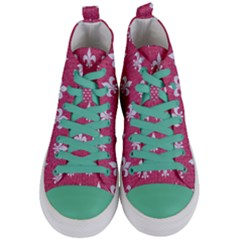 Royal1 White Marble & Pink Denim (r) Women s Mid Top Canvas Sneakers