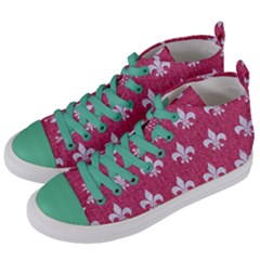 ROYAL1 WHITE MARBLE & PINK DENIM (R) Women s Mid-Top Canvas Sneakers