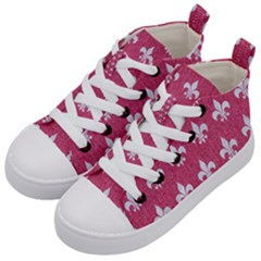 ROYAL1 WHITE MARBLE & PINK DENIM (R) Kid s Mid-Top Canvas Sneakers