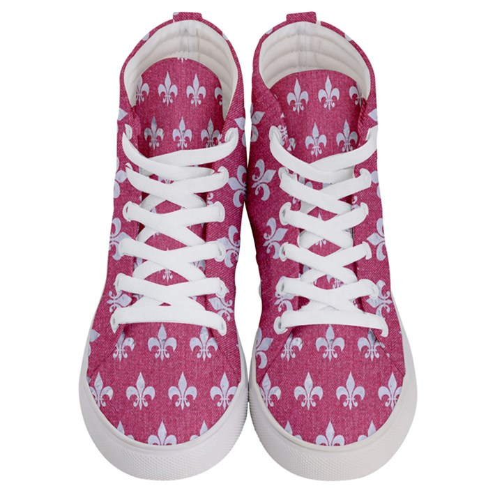 ROYAL1 WHITE MARBLE & PINK DENIM (R) Men s Hi-Top Skate Sneakers
