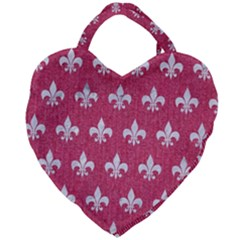 ROYAL1 WHITE MARBLE & PINK DENIM (R) Giant Heart Shaped Tote