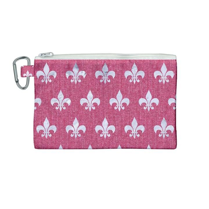 ROYAL1 WHITE MARBLE & PINK DENIM (R) Canvas Cosmetic Bag (Medium)