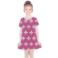 Royal1 White Marble & Pink Denim (r) Kids  Simple Cotton Dress by trendistuff