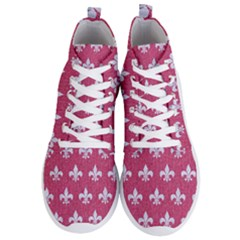 Royal1 White Marble & Pink Denim (r) Men s Lightweight High Top Sneakers by trendistuff
