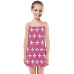 Royal1 White Marble & Pink Denim (r) Kids Summer Sun Dress