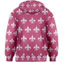 ROYAL1 WHITE MARBLE & PINK DENIM (R) Kids Zipper Hoodie Without Drawstring View2
