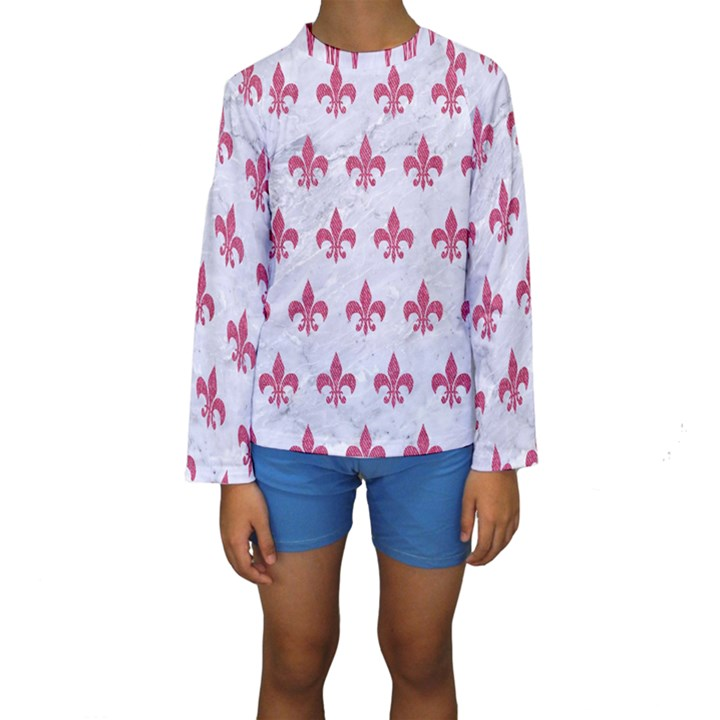 ROYAL1 WHITE MARBLE & PINK DENIM Kids  Long Sleeve Swimwear