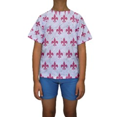 ROYAL1 WHITE MARBLE & PINK DENIM Kids  Short Sleeve Swimwear