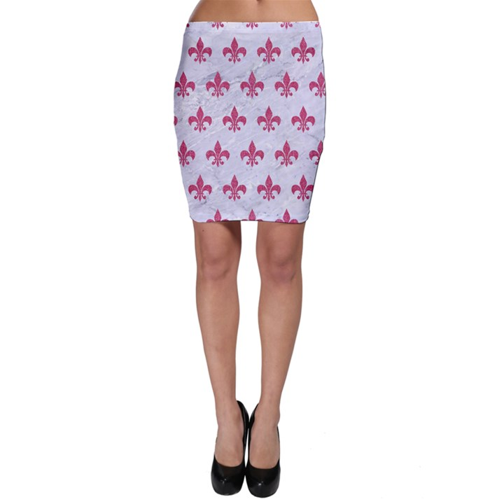 ROYAL1 WHITE MARBLE & PINK DENIM Bodycon Skirt