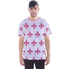 ROYAL1 WHITE MARBLE & PINK DENIM Men s Sports Mesh Tee