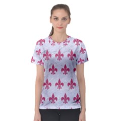 ROYAL1 WHITE MARBLE & PINK DENIM Women s Sport Mesh Tee