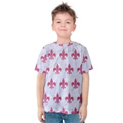 ROYAL1 WHITE MARBLE & PINK DENIM Kids  Cotton Tee