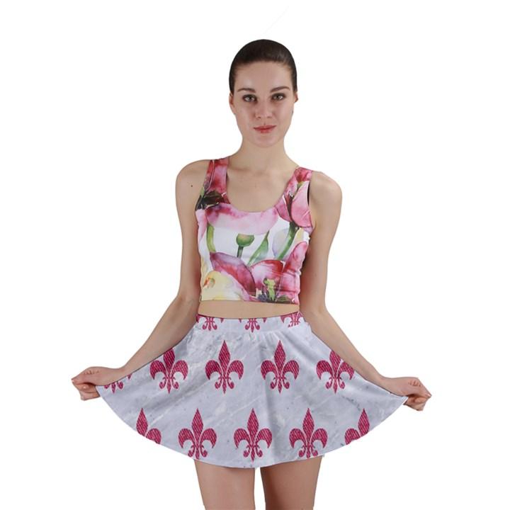ROYAL1 WHITE MARBLE & PINK DENIM Mini Skirt