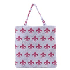 ROYAL1 WHITE MARBLE & PINK DENIM Grocery Tote Bag