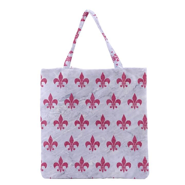ROYAL1 WHITE MARBLE & PINK DENIM Grocery Tote Bag