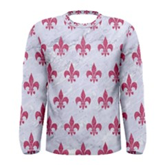 ROYAL1 WHITE MARBLE & PINK DENIM Men s Long Sleeve Tee