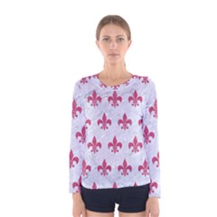 ROYAL1 WHITE MARBLE & PINK DENIM Women s Long Sleeve Tee