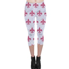 ROYAL1 WHITE MARBLE & PINK DENIM Capri Leggings