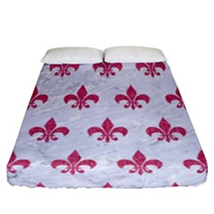 ROYAL1 WHITE MARBLE & PINK DENIM Fitted Sheet (Queen Size)