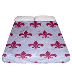 ROYAL1 WHITE MARBLE & PINK DENIM Fitted Sheet (King Size)