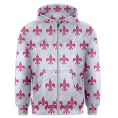 ROYAL1 WHITE MARBLE & PINK DENIM Men s Zipper Hoodie