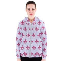 ROYAL1 WHITE MARBLE & PINK DENIM Women s Zipper Hoodie