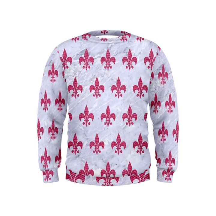 ROYAL1 WHITE MARBLE & PINK DENIM Kids  Sweatshirt