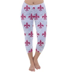 Royal1 White Marble & Pink Denim Capri Winter Leggings