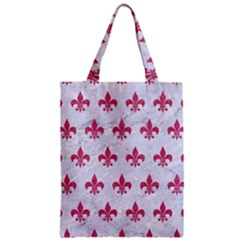 ROYAL1 WHITE MARBLE & PINK DENIM Zipper Classic Tote Bag