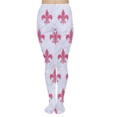 ROYAL1 WHITE MARBLE & PINK DENIM Women s Tights