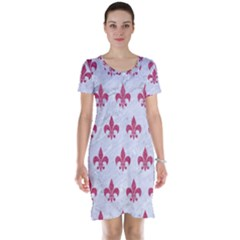 ROYAL1 WHITE MARBLE & PINK DENIM Short Sleeve Nightdress