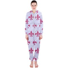 Royal1 White Marble & Pink Denim Hooded Jumpsuit (ladies)