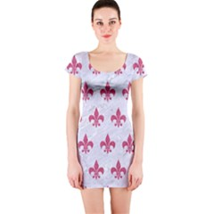ROYAL1 WHITE MARBLE & PINK DENIM Short Sleeve Bodycon Dress