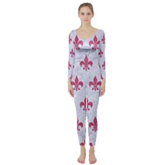 ROYAL1 WHITE MARBLE & PINK DENIM Long Sleeve Catsuit