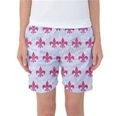 ROYAL1 WHITE MARBLE & PINK DENIM Women s Basketball Shorts